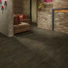 Details: Photo features Copper Haze 12 x 24 field tile in a grid pattern on the floor.