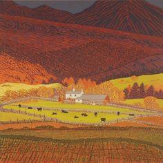 Hill Farm with Black Cows £345 Image Size 40 cm x 40 cm unframed