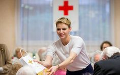 Princess Charlene visits elderly at the Hector Otto Foundation