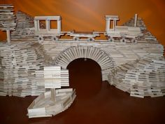Eric Olson, from Fort Worth, TX built this awesome train and bridge out of KEVA planks. No glue was used!