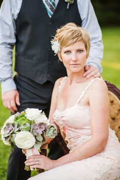 Short haired bride | Relaxed Custom Styled Barn Wedding | Fab You Bliss