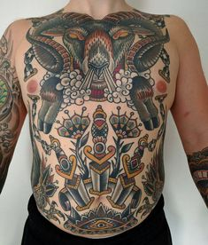 Front Torso by @frejtattoo at Royal Arch Tattoo in Västerås Sweden #frejtattoo #frejlind #royalarchtattoo #vasteras #sweden #ramtattoo # #daggertattoo #traditionaltattoo #tattoo #tattoos #tattoosnob