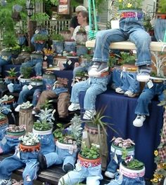 Recycled jean for plant pot covers