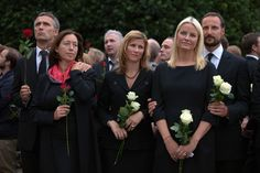 "Crown Princess Mette-Marit of Norway and Princess Martha Louise Photos - Prime Minister of Norway Jens Stoltenberg (L), holds his wife Ingrid Schulerud (C), as Princess Martha Louise of Norway (C), Crown Princess Mette-Marit of Norway and Crown Prince Haakon of Norway look on as thousands of people gather at a memorial vigil following Friday's twin extremist attacks on July 25 ,2011 in Oslo, Norway.  Anders Behring Breivik, 32, claimed that he has ""two more cells"" working with him as he…"