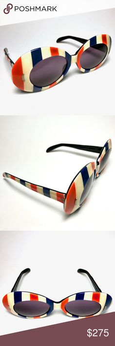 """American Patriot Stripes Flag Wayfarer Sunglasses Unbranded Vintage 1970's American Patriot USA Flag Stripes Sunglasses, Size: 3""""L x 2.5""""W Temple/Arm 5"""" Grey Lens, Material: Resin/Plastic - Condition: Very Good! Scratches throughout the lens. Unbranded Accessories Sunglasses"""