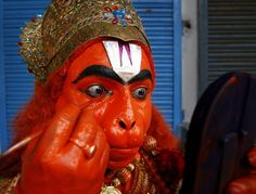 A man dresses up as monkey god Hanuman to participate in a procession as part of the Hindu festival of the Hanuman Jayanti in Allahabad, India.