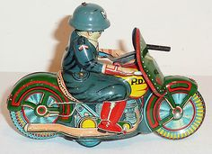 SATO Japanese Tin Litho Friction 1950s POLICE MOTORCYCLE WITH RIDER ~ 5.5-inches