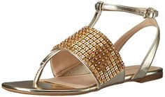 Nine West Women's Siobhan Synthetic Dress Sandal, Light Gold, 9 M US *** Learn more by visiting the image link.