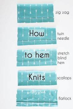 How to sew a knit hem - 5 different ways to sew a knit hem, 4 with a regular sewing machine - tutorial with video by Melly Sews