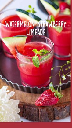 Non Alcoholic Drinks, Fun Drinks, Yummy Drinks, Healthy Drinks, Fun Summer Drinks Alcohol, Watermelon Alcoholic Drinks, Drink Recipes Nonalcoholic, Strawberry Drinks, Beverages