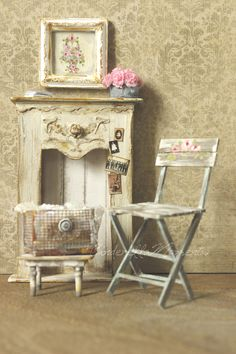 Dollhouse Miniature Mantel Chair Footstool Basket Roses Painting Set by cinderellamoments on Etsy