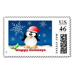 "Happy Holidays Holiday Postage  $25.15 for 20  Large, 2.5"" x 1.5""   Make each letter a special delivery! Put a personal touch on your mail, or share this useful gift with friends and family. Zazzle's large custom stamps are especially perfect for standard letters and larger envelopes."