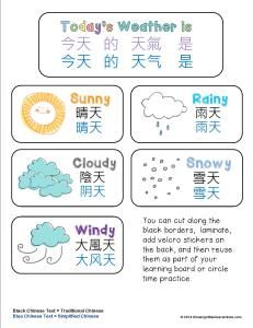 Free bilingual Chinese and English weather learning printables for calendar / morning / or circle time board