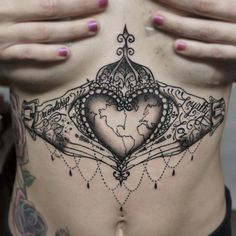 Crowned Heart Sternum Tattoo