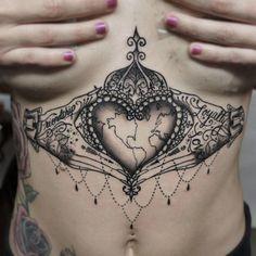 Crowned Heart Sternum Tattoo