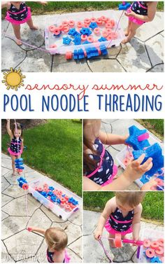 10 Ways to Play With Pool Noodles {Sensory Summer} - Threading! This is a perfect fine motor/gross motor activity for summer tot school, preschool, or kindergarten!