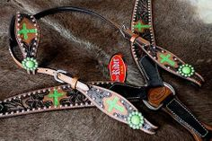 Horse Bridle Western Leather Headstall Breast Collar Lime Green Cross 8205CO31