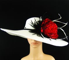 Derby Hat,WHITE Kentucky Derby Hat,Dress Hat, Wedding Hat, Wide Brim, Feathers by theoriginaltree on Etsy https://www.etsy.com/listing/122341999/derby-hatwhite-kentucky-derby-hatdress