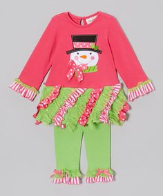 Take a look at this Pink & Lime Snowman Dress & Leggings - Infant, Toddler & Girls on zulily today!