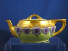 Paroutaud Freres (P.P.) La Seynie Limoges Arts & Crafts Cornflower Motif Teapot (c.1903-1917)