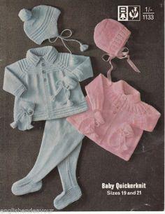 BABY JACKET LEGGINGS BONNET HELMET MITTS KNITTING  PATTERN 721