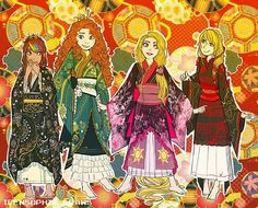 rotbtd girls in kimonos Walt Disney Studios, Walt Disney Company, Jack Frost, Rapunzel, Merida, Pixar Characters, Disney Crossovers, Dragon Rider, Rise Of The Guardians