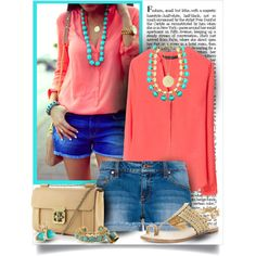 Coral and turquoise | Virtual weekly wardrobe via junkgarden
