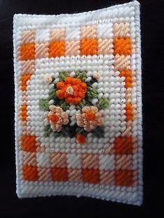 Handmade-Needlepoint-Plastic-Canvas-Mini-Tissue-Cover-Orange-Gingham-Floral