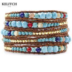 KELITCH Jewelry 1Pcs Charm Bracelets 8MM Synthetic Multicolor Gold-color Nuggets Women Bracelet Bohemian Pulsera Luxury Package #Affiliate
