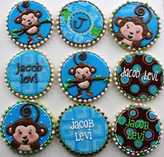 Boy monkey baby shower cookies | by Hayley Cakes and Cookies