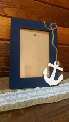 Check out this item in my Etsy shop… Nautical Picture Frames, Picture Frame Decor, Marco Diy, Anchor Crafts, Preschool Crafts, Diy Crafts, Anchor Pictures, Sailing Theme, Nautical Party