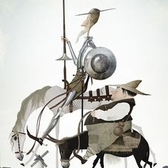 Don Quijote y Sancho Panza by Iban Barrenetxea Tilting At Windmills, Man Of La Mancha, Dom Quixote, Don Miguel, Literary Characters, Love Illustration, Caravaggio, Creature Design, Fantasy Art
