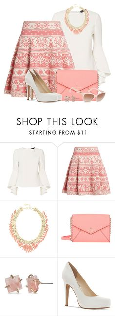 """""""Floral Skirt & Flounced Sleeve Blouse"""" by brendariley-1 ❤ liked on Polyvore featuring Exclusive for Intermix, Alexander McQueen, BCBGMAXAZRIA, Kate Spade, Jessica Simpson and Dolce&Gabbana"""