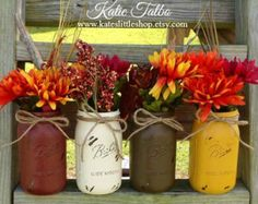 Rustic Mason Jar Decor Wedding Decor Painted by TwinOakRustics