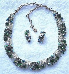 Vintage Lisner Necklace & Clip On Earrings Rhinestone Signed Choker #Lisner