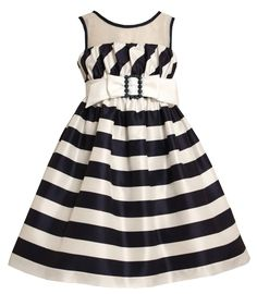Bonnie Jean Little Girls 4-6x-Navy Blue and Bias rayado blanco vestido de escote ilusión: Ropa