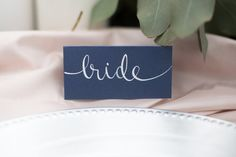 Simple and classic navy place cards for Monterey Beach Wedding by Katie Michelle Designs- Laura & Rachel Photography