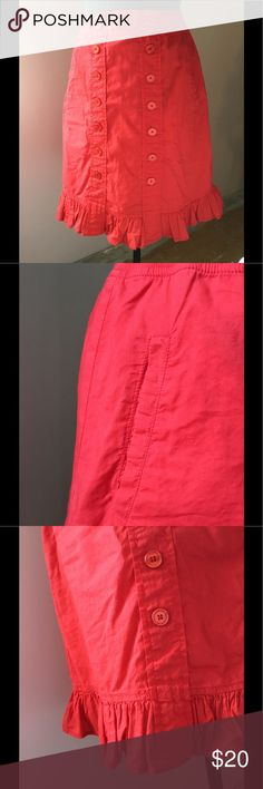 Anthro Red Knee Length Skirt by Edme & Esyllte Elastic waist, side pockets, fully lined, machine washable, excellent condition Anthropologie Skirts A-Line or Full