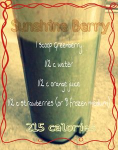 Greenberry Shakeology recipe - Sunshine Berry Tried and taste good Greenberry Shakeology, Beachbody Shakeology, Protein Shake Recipes, Smoothie Recipes, Protein Shakes, Shred Diet, Clean Eating Meal Plan, How To Eat Paleo, 21 Day Fix