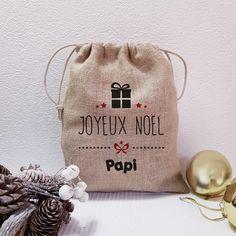 "Pochon de NOËL en toile de jute ""Cadeau"" Mini, Blog, Sacks, Presents, Xmas, Santa Sack, Christmas Bags, Wrapping Papers, Blogging"
