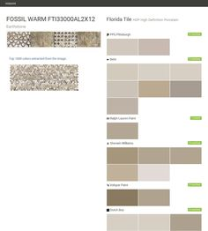 FOSSIL WARM FTI33000AL2X12. Earthstone. HDP High Definition Porcelain. Florida Tile. PPG Pittsburgh. Behr. Ralph Lauren Paint. Sherwin Williams. Valspar Paint. Dutch Boy.  Click the gray Visit button to see the matching paint names.