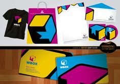 Branding design elements: it has a logo of a box with a W and yellow, pink and blue colors. Cool elements to use in the creation of your own brand or logo to put in letter envelopes, business cards, disc packages, folders, bags, t-shirts and more. Under Commons 3.0. Attribution License.