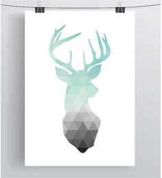 Mint Deer Head Print Mint Print Mint Art by PrintAvenue on Etsy
