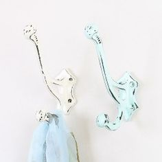 Large Metal Wall Hook in Cream / Duck Egg Blue