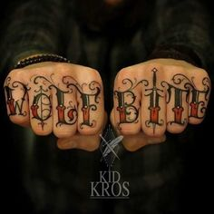 Bold, inspiring knuckle tattoos to enhance your hands and cement your status as a bad-ass Tattoo Fonts, Tattoo Ink, Body Art Tattoos, Sleeve Tattoos, Lettering Tattoo, Trash Polka, Dope Tattoos, Tattoos For Guys, Tatoos