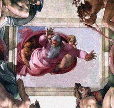 Pintado en el techo de la capilla sixtina por Miguel Angel.