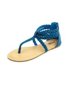 Braided Zip-Back T-Strap Sandal: Charlotte Russe