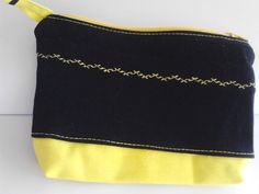 Items similar to blue-black denim and yellow cotton fabric zippered makeup purse on Etsy Black Denim, Yellow, Blue, Cotton Fabric, My Etsy Shop, Zipper, Purses, Trending Outfits, Unique Jewelry