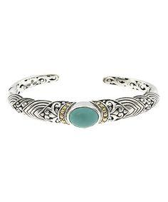 Look at this #zulilyfind! Turquoise & Sterling Silver Balinese Bangle #zulilyfinds