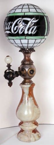 """c.1915 leaded glass light 11 ½"""" on marble dispenser base A beautiful piece which is extremely rare and this is a fine example. Very difficult to find. This globe was made in two versions, standing or hanging. This one is a beauty"""